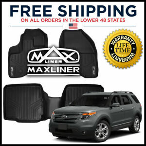 Maxfloormat 2011 2014 Explorer w 2nd Row Console 1st 2nd Floor Liners Black