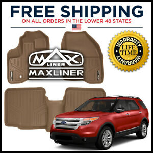 Maxfloormat 2011 2014 Explorer w o 2nd Row Console 1st 2nd Floor Liners Tan