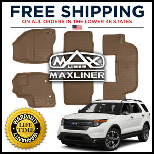 Maxfloormat 2011 2014 Explorer w o 2nd Row Console 1st 2nd 3rd Floor Liner Tan