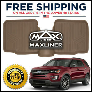 Maxliner 11 2017 Explorer 2nd Row W o Console All weather Floor Mat Liner Tan