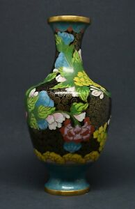 Antique Chinese Cloisonne Vase 6 25 Inches Tall