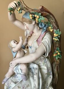 Antique French Vion Baury Bisque Figurine Of Mather With Child Rare