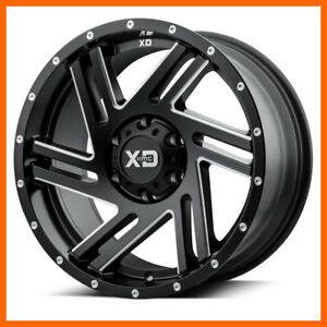 18x9 Kmc Xd Swipe Xd835 5 6 8 Lug 4 New Black Wheels Rims Free Canter Caps Lugs