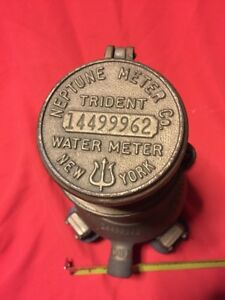 Vintage Trident Neptune Water Co Meter 5 8 Steampunk Exc Condition New York