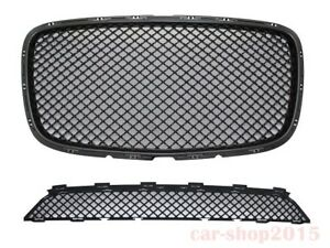 2015 2017 Chrysler 300 300c Front Grille Black Bentley Style Upper lower