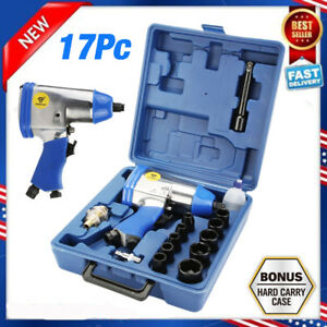 17pcs 1 2inch Dr Air Impact Wrench Set W Sockets Inline Filter Extention Bar B