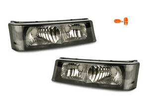 Smoke Bumper Signal Light Lamp Pair For 03 07 Silverado Pickup 02 06 Avalanche