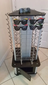 Retail Store Sunglasses 3 Sided 66 Pair Rotating Display Rack With Storage Keys