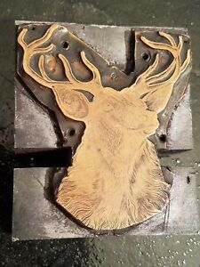Vintage Wood Metal Printing Press Block Stamp Ink Plate Deer Stag Horns