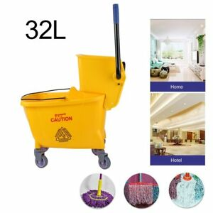 Rolling Mini Side Press Mop Bucket With Wringer 33qt 8 45 Gallons 32l Yellow B