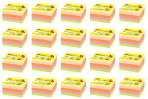 4a Sticky Note Cube 3x3 Self stick Note Neon Assorted 20 Packs Total 8000 Sheets