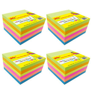 4a Self stick Notes Memo Pad Lined 4 X 4 Neon Assorted Total 2400 Sheets