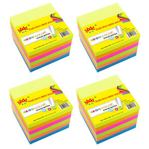 4a Sticky Notes Memo Reminder 4 X 4 Neon Assorted 24 Pads Total 2400 Sheets