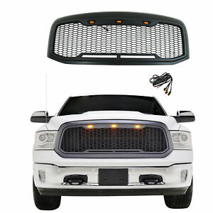 For Dodge Ram Front Grille Ram 1500 2013 2017 Glossy Black Abs Mesh Logo