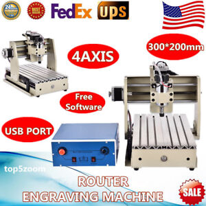 Usb 4 Axis Cnc 3020 Router Engraver Milling Drilling Engraving Machine software