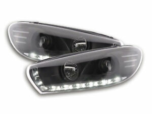 Led Drl Daylight Headlights For Vw Scirocco 3 Type 13 08 In Black Finish
