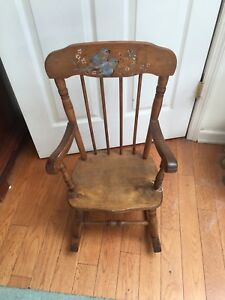 Wow Antique Child S Rocking Chair Signed Hand Painted Bluebird Motif Htf