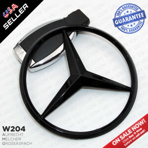 Luggage Lid Star Logo Trunk Rear Emblem W204 Modified C Class Gloss Black