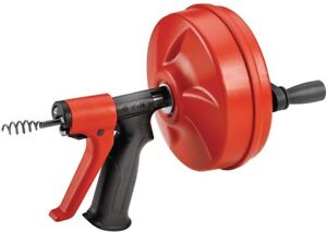 Ridgid Auger Drain Cleaner Drill Snake Dual Powered Switch Reinforced Hand Grip