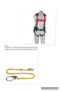New Xl Safety Harness With Soft Coil Lanyard complete Set Combo quality Set