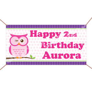 Custom Name Age Banner Little Owl Birthday Banner Party Party Decoration Sign
