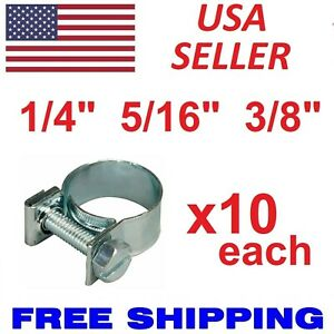 New 30 Pcs 1 4 5 16 3 8 Fuel Injection Gas Line Hose Clamps Clip Pipe Clamp