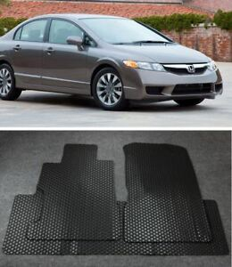 For 2006 11 Honda Civic 4d All Weather Black Beige Rubber Floor Mats Front Rear
