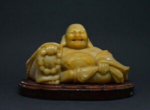 Antique Chinese Export Soap Stone Laughing Buddha Figurine 3 5 Tall