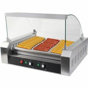 Us 30 Hotdog Roller Commercial Hot Dog 11 Roller Grill Cooker Machine With Cover