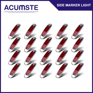 20x Red 12 Led Sealed Side Marker Clearance Light Lamp Fish Shape Truck Trailer