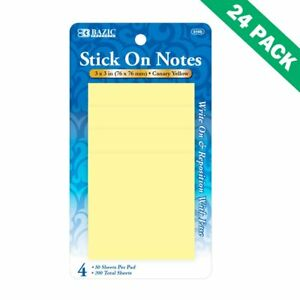 Sticky Note Pad Bazic 3x3 Bright Yellow Sticky Notes Memo 4 pack Set Of 24