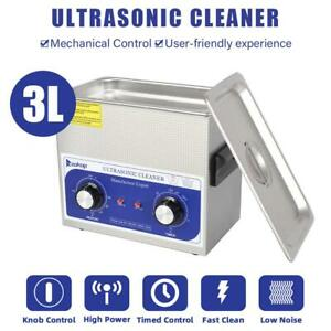 Stainless Steel Ultrasonic Cleaner 3l Liter Heated Heater W timer Industry Labs