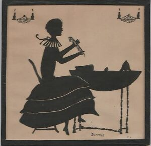 Antique Silhouette Portrait Lady At Writing Desk Signed Denney