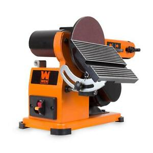 WEN Belt and Disc Corded Sander with Steel Base Bench Power Tool 4 x 36 in