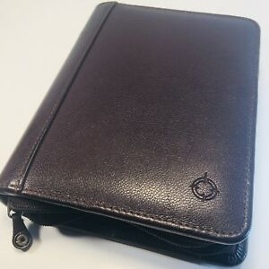 Franklin Covey Dark Burgundy Leather Compact Zipper Planner Binder Organizer