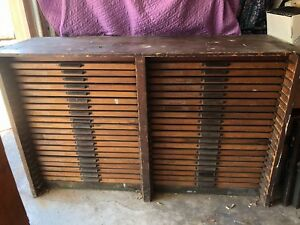 Antique Printers Type Tray Cabinet Double Row 40 Drawers W Hamilton Handles