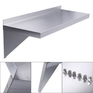 Stainless Steel Restaurant Bar Cafe Kitchen Floating Wall Mount Shelf 12 x36