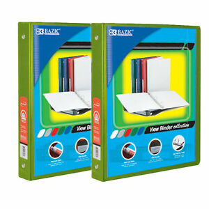 Bazic 1 2 Inch 3 ring View Binder With 2 pockets case Pack Of 24 Lime Green