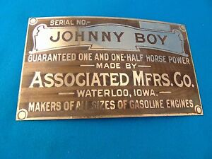 Johnny Boy Hit Miss Engine 1 1 2 Hp Horse Brass Data Serial Model Plate Unused