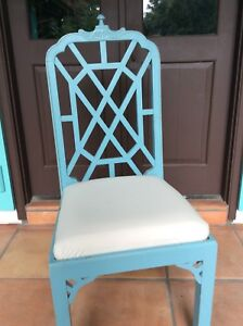 Chinese Chippendale Chinoiserie Pagoda Aqua Turquoise Dining Chairs Set Of 10