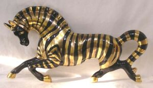 Vintage Porcelain Zebra Wall Hanging Mid Century Gold Black Facing Left