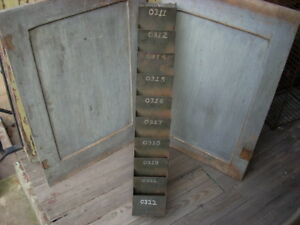Vintage Industrial Metal Parts Bin Wall Organizer Letter Box Storage Cabinet 29