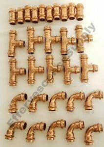 lot Of 30 1 1 4 Propress Copper Tees Elbows Coupling Press Fittings