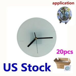 Us Stock Sublimation Blank Glass Photo Frame With Glossy Round Clock