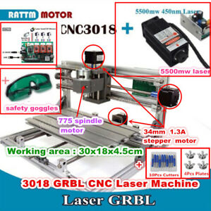 3 Axis Diy Mini 3018 Grbl Control Cnc Router Laser Milling Machine W 5 5w Laser