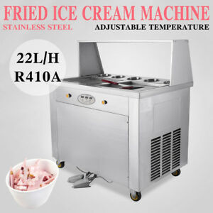 Set Temperature Double Pan Fried Ice Cream Maker Roll Ice Cream Machine