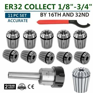Mt2 Shank Er32 Chuck With 11 Pc Collets Set New Bp