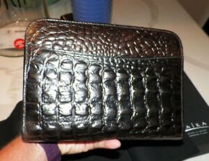 Raika Brown Black Croc Leather Business Organizer Never Used With Box