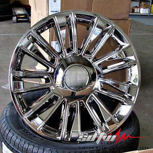 24 Platinum Style Chrome Wheels Fits Cadillac Escalade Ext Chevy Gmc