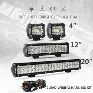 4 12 20 Inch Cree Led Work Light Bar Spot Flood Combo Offroad Driving Lamps